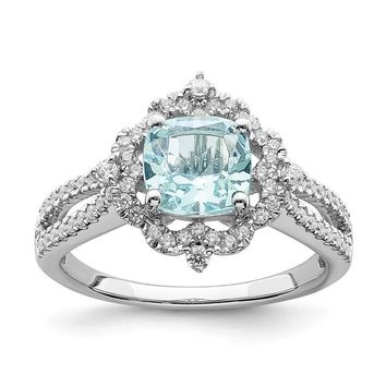 14k White Gold Cushion Aquamarine Vintage Diamond Halo Engagement Ring