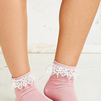 Lace Trim Ankle Socks in Pink - Urban Outfitters