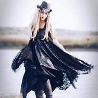 Stevie Nicks Black Dress, Boho Gypsy Soul Dress, Metallic Lace Sundress, True Rebel Clothing