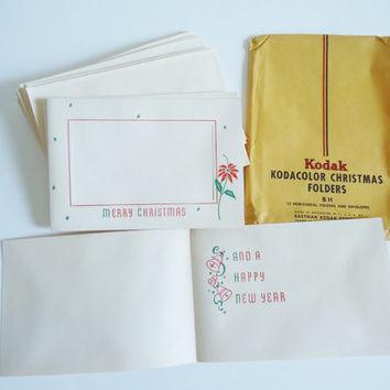 1960's Vintage Kodak Kodacolor Chrismas Card Photo Folder Cards New Stock, Ephemera, Classy Stationery Kit, Correspondence, Holidays, Gifts