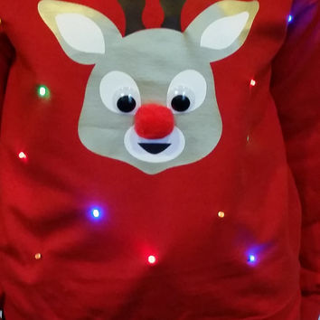 Ugly LIGHTUP CHRISTMAS SWEATER - Rudolph the red nose reindeer!