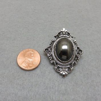 Lovely Vintage Hematite Crest Style Pin or Pendant, Sarah Coventry
