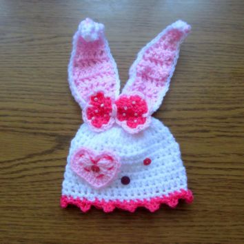 Bunny hat pattern, crochet Easter pattern, girl Easter hat,  baby bunny hat, crochet bunny beanie,  rabbit hat, - Newborn up to 12 months