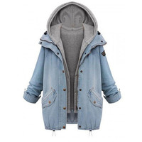 Spring Autumn Women Two Piece Hooded Jeans Jacket Suit Plus Size Casual Denim Coat + Sweatshirt Vest With Hood  [8833901772]
