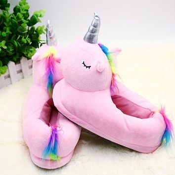 Cartoon Cute Unicorn Slippers