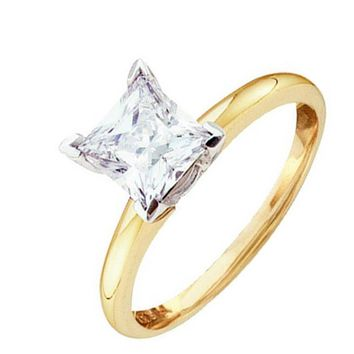 Ladies 14k Yellow Gold 0.40ct Princess Cut Diamond Solitaire Engagement Ring