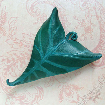 Leather Leaf Barrette Lily or Caladium Leaf in by beadmask