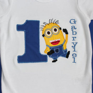 Personalized Minions themed 1st , 2nd birthday shirt/ one piece baby boy minion birthday outfit