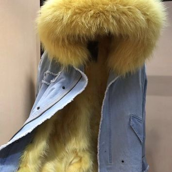 Ladies Real Fox fur Lined Denim Jeans Jackets Luxury Raccoon Fur Collar Hooded Parka Winter Outwear