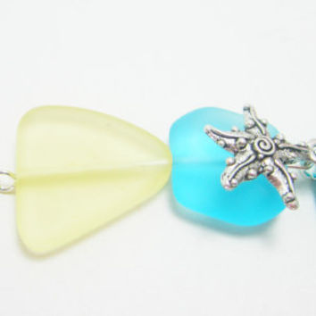 Aqua and Yellow Sea Glass Beaded Keychain with Fish and Starfish Charms