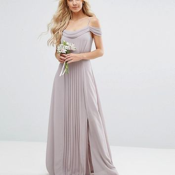 TFNC Petite Wedding Cold Shoulder Embellished Maxi Dress at asos.com