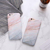 Hot Stylish Light Coral Coralline Pinky White Crack Marble Matte TPU Soft Slim Cover For iPhone 6 s + 7 7Plus Fashion Phone Case -0318
