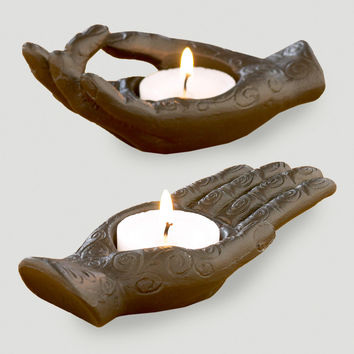 Aluminum Hand Tealight Holders, Set of 2