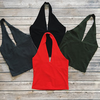 Basic Halter Tank (Black, Charcoal, Olive, Red)