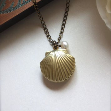 A Mermaids Locket A Shell Clam Oyster Vintage Brass by Marolsha