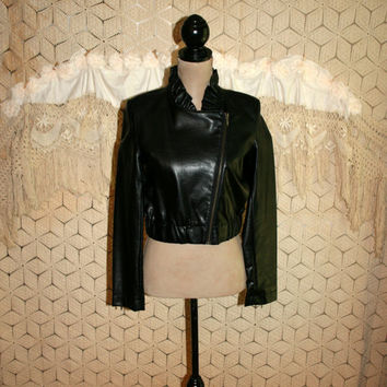 Cropped Black Leather Jacket Small Edgy Biker Punk Rocker Zip Up Jacket Offset Zipper Faux Leather Vegan Leather Womens Clothing