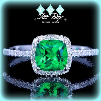 Emerald  Engagement Ring 6mm Cushion Cut set in a 10k White gold diamond halo setting