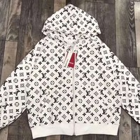 LV Women Men Print clothing Embroidery Loose coat Zipper Jacket White