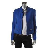 Calvin Klein Womens Notch Collar Asymmetric Open-Front Blazer