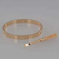 Cartier 18ct Rose Gold Ten Diamond LOVE Bangle Bracelet