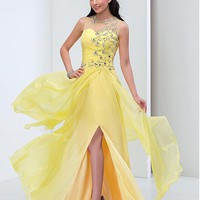[99.99] Junoesque Silk-like Chiffon Jewel Neckline A-line Prom Dresses With Beadings - dressilyme.com