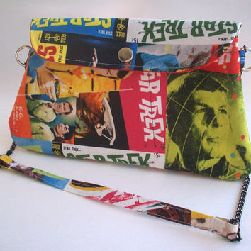 Star Trek Clutch Purse with Chain Strap / Comic Book Bag / Kirk & Spock