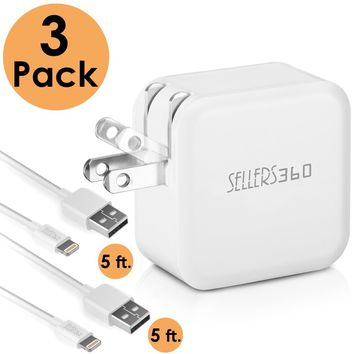 SELLERS360 iPhone Charger,4.8A 24W Dual USB Portable Travel Wall Charger Foldable Plug with 2 5FT Long Apple Lightning Cable Charging Cord for iPhone 8/10/ 7Plus/7/6S Plus/6S/6/5S/iPad (White)