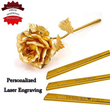 DROP SHIPPING 24k Gold Foil Plated Rose Wedding Decoration Golden Rose Gold Dipped artificiales artificial flower Personalized