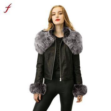 2017 New Fashion Winter Women's Parka Fur Collar Zipper Coat Quilted Jacket Coat Faux fur Pu leather Black Coat
