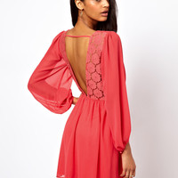 ASOS Wrap Dress With Blouson Sleeve & Lace Back