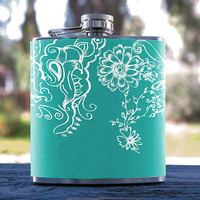 Floral Design, Best Hip Flask 6oz Flower Pattern/Flowers Style, for Gifts, Men/Women, Bridesmaid, Groomsmen, Weddings, Anniversaries & more!