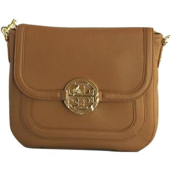 Tory Burch Amanda Round Crossbody Link Chain Strap - Royal Tan
