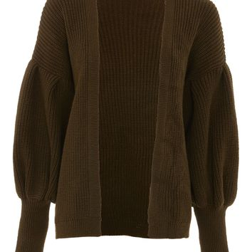 Pleated Balloon Sleeve Cardigan - Sweaters & Knits - Clothing