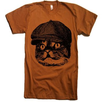 LARGE - SALE Mens Cat Face T shirt Cute Cat Tee Cat Tees Cat Tshirts Valentines Day Gift Ideas Present Cat Lover Crazy Cat Lady T Shirt Mens