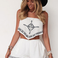 2016 Macacao feminino Women Crop Tops Shorts twinset two piece outfits Playsuit Backless Rompers Womens Jumpsuit white color