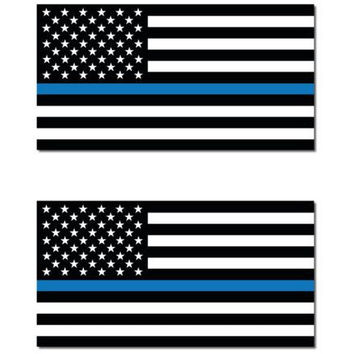 "Blue Lives Matter Police Support Line USA American Flag 6""x3"" bumper sticker"