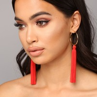 So Not A Tassel Earrings - Red