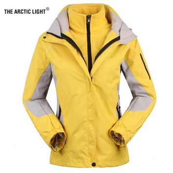 THE ARCTIC LIGHT Women's Skiing Jackets+Fleece Jacket Lady Outdoor Sports Coat Suit Warm Waterproof 2 in 1 Female Ski Wear Coat