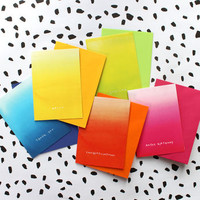 Set Of Five Vibrant Ombre Foiled Notecards