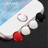 USAMS Aluminum Touch ID Home button Sticker for iPad,support Fingerprint Unlock Touch for iPhone 8/8 plus7/7 plus/6/6s plus/5/se