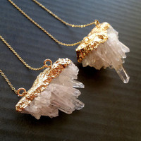 Quartz Crystal Necklace Clear Crystal Necklace Quartz Jewelry Crystal Cluster Mineral Necklace Mineral Jewelry Clear Quartz Pendant Necklace