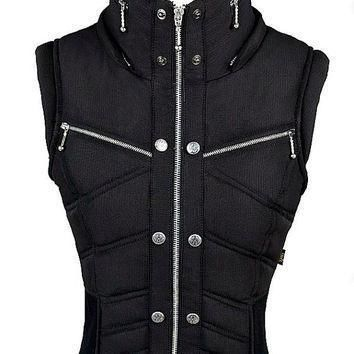ayyawear ripstop puma vest in black black fur hood optional renaissance steampunk  number 1