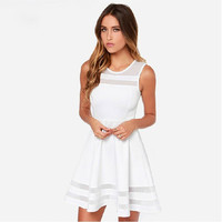 Summer Dress Sleeveless Casual Vestidos Solid Fit Flare Sleeveless Women White Chiffon Party Dresses AWD0011