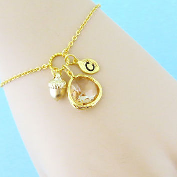 Autumn, Acorn, Personalized, Letter, Initial, Champagne, Stone, Gold, Bracelet, Anklet, Custom, Alphabet, Initial, Gift, Jewelry