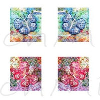 "0.75"" x 0.83""  - beaded butterflies - digital collage sheet - patchwork images  - instant download  - mirror images - letter size"