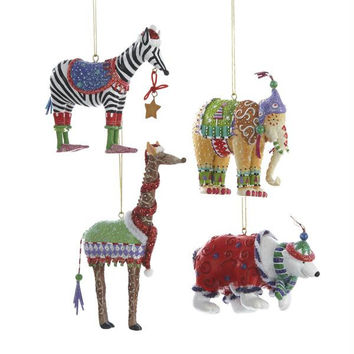 12 Christmas Ornaments - Whimsical Wild Animals