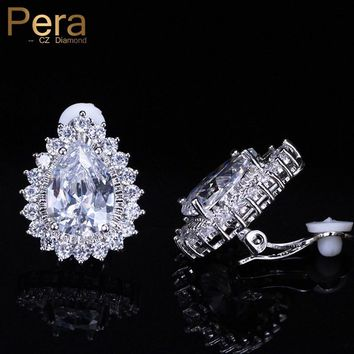 Pera New Fashion Clip On Ear No Pierced Jewelry Clear White Cubic Zirconia Elegant Big Pear Cut Stud Earring For Women Gift E359