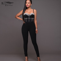 Bonnie Forest Red Rhinestones Embellished Padded Jumpsuit Sexy women black Sleeveless off the shoulder sequined jumpsuit romper