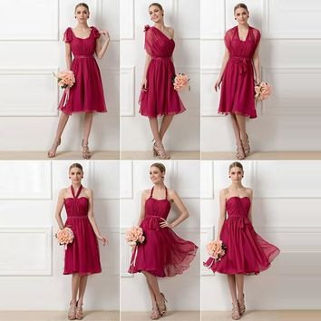 A line pleats bridesmaid dress burgundy sleeveless knee length ruched gown women wedding party custom bridesmaid dresses