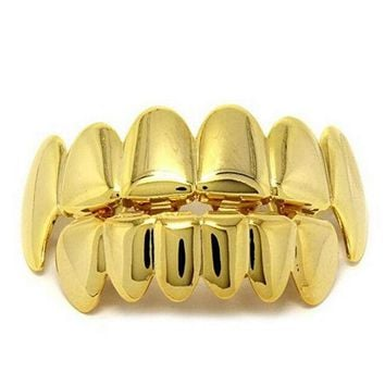 DCCKF4S Gold Silver Color HIP HOP Teeth Grillz 6 Top Teeth & 6 Bottom Tooth Plain Groll Set With Silicone Teeth Slugs Thin Gift for Men